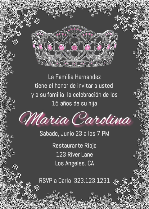 Quinceanera Invitation Wording Spanish Best Of Quinceañera Corona Invitation English Quince Spanish