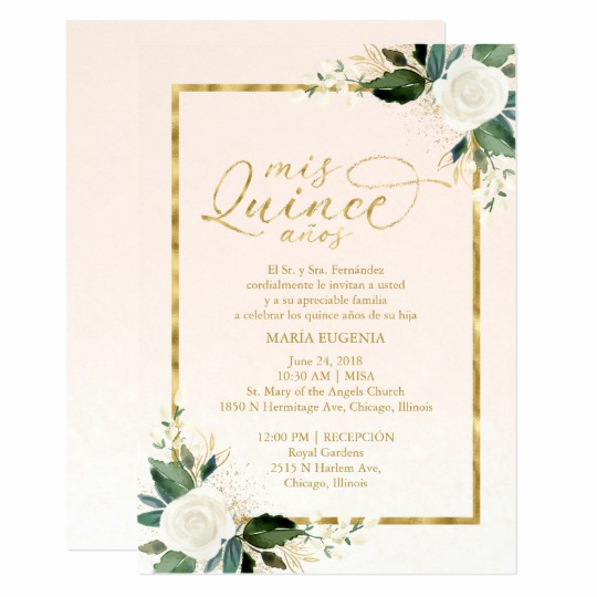 Quinceanera Invitation Wording Spanish Best Of Quinceanera Invitation Spanish Pink Gold Foil