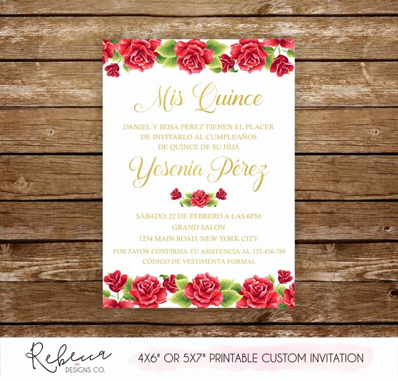 Quinceanera Invitation Wording Spanish Elegant Quinceañera Invitation 15th Birthday Party Printable