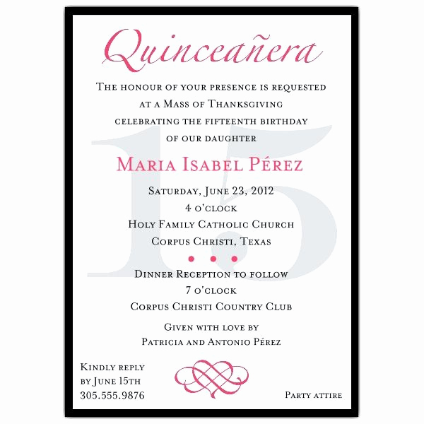 Quinceanera Invitation Wording Spanish Elegant Quinceanera Invitation Wording Template