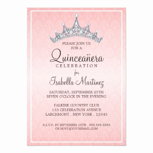 Quinceanera Invitation Wording Spanish New Glam Tiara Quinceanera Celebration Invitation