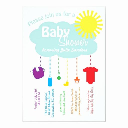 Rainbow Baby Shower Invitation Beautiful Rainbow Cloud Baby Shower Invitation