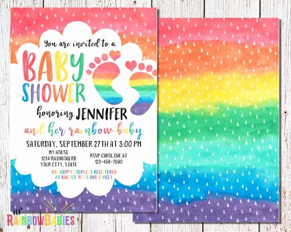 Rainbow Baby Shower Invitation Best Of Rainbow Baby Shower Invitations Printable Baby Shower