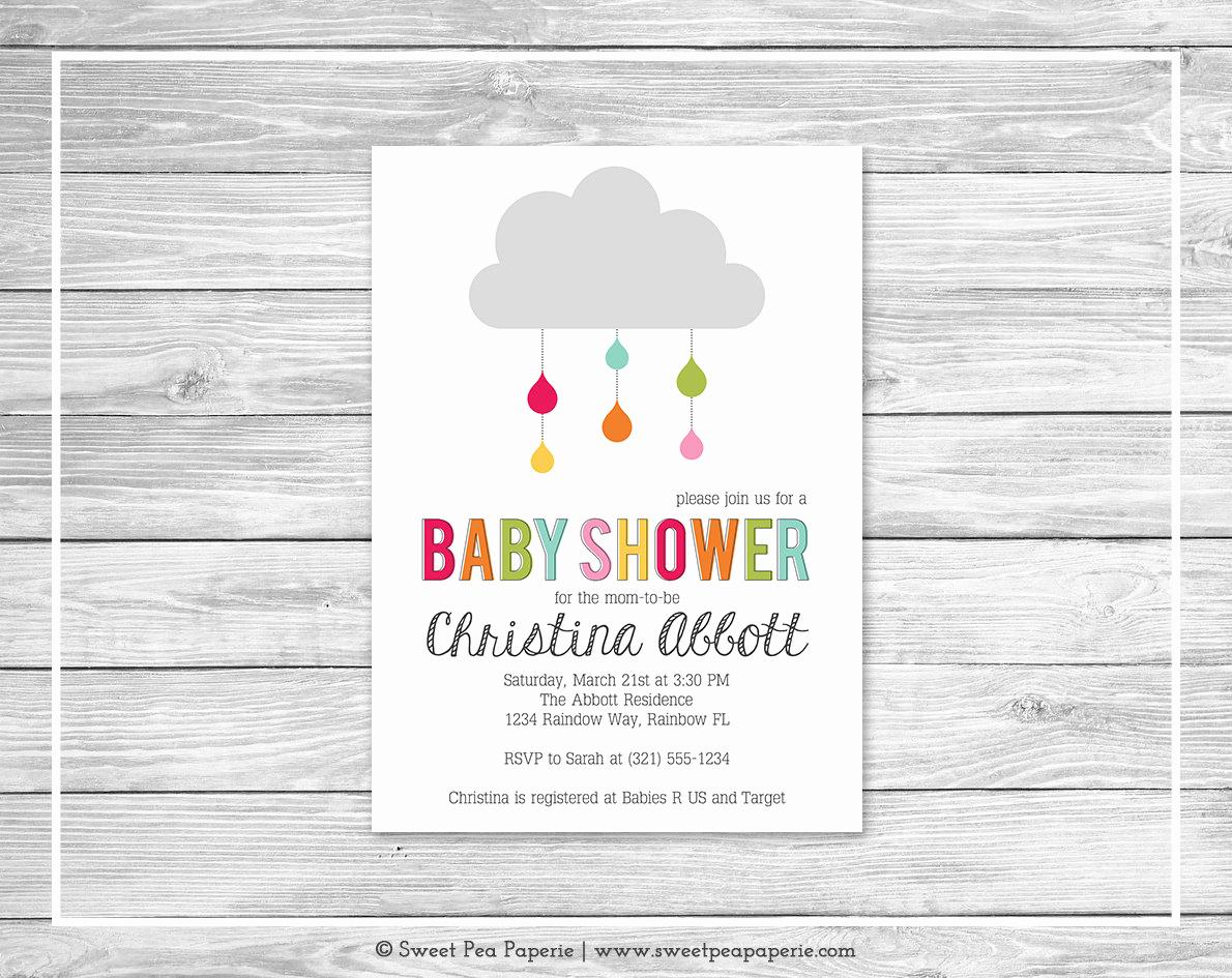 Rainbow Baby Shower Invitation Elegant Rainbow Showers Baby Shower Invitation Printable Baby Shower