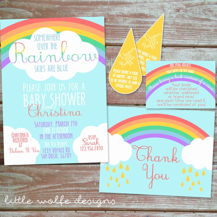 Rainbow Baby Shower Invitation Elegant somewhere Over the Rainbow Baby Shower Invitation Set