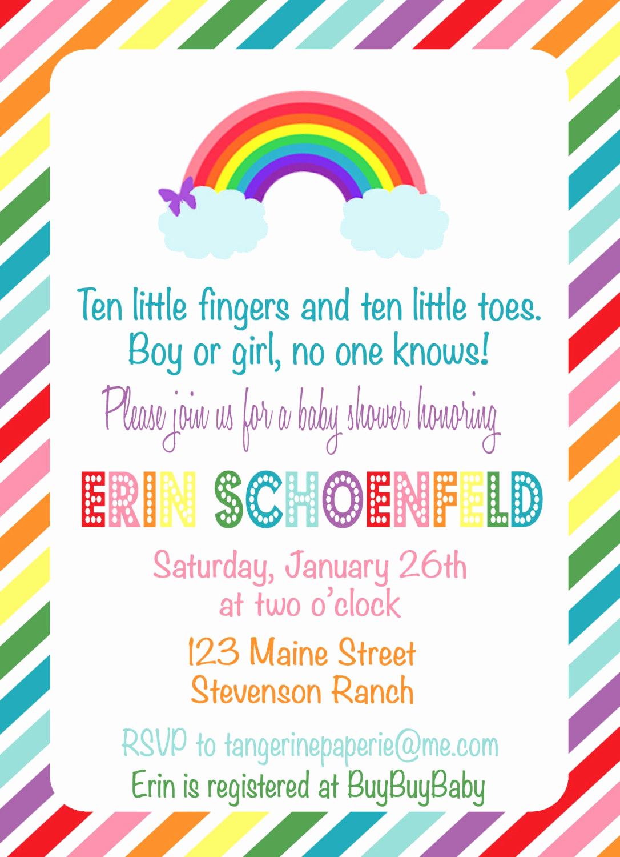 Rainbow Baby Shower Invitation Fresh Rainbow Baby Shower Invitation by Tangerinepaperie On Etsy