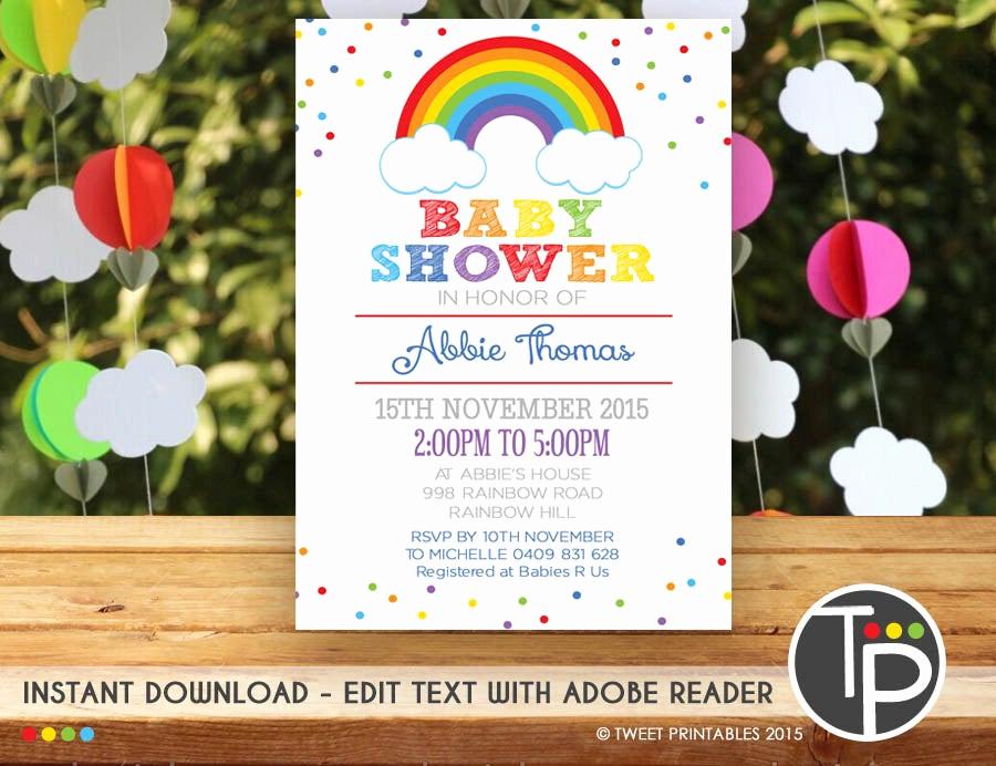 Rainbow Baby Shower Invitation Fresh Rainbow Baby Shower Invitation Instant Rainbow Baby