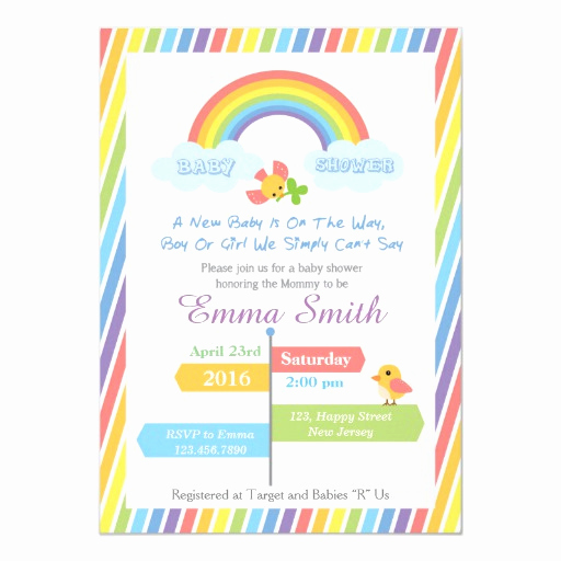 Rainbow Baby Shower Invitation Fresh Rainbow Baby Shower Invitation