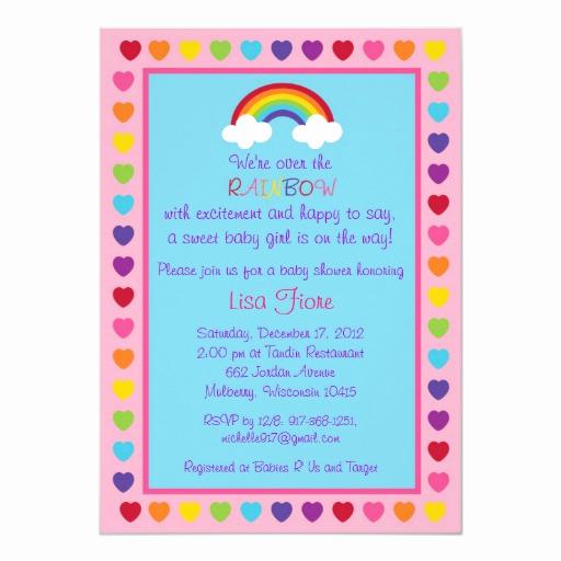 Rainbow Baby Shower Invitation Luxury Rainbow Baby Girl Baby Shower Invitations