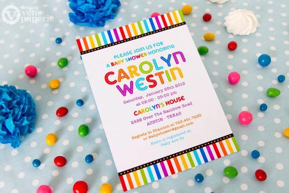 Rainbow Baby Shower Invitation Unique Diy Printable Invitation Card Rainbow Baby Shower Invitation