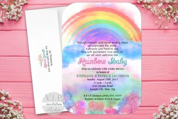 Rainbow Baby Shower Invitation Unique Rainbow Baby Shower Invitation Rainbow Baby Invitation