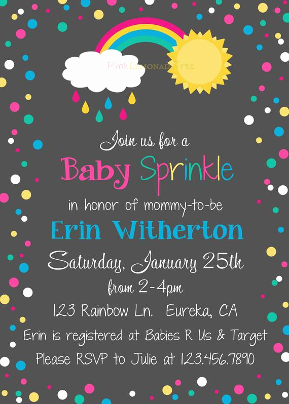 Rainbow Baby Shower Invitation Unique Rainbow Baby Sprinkle Invite Baby Shower Invitation Rainbow