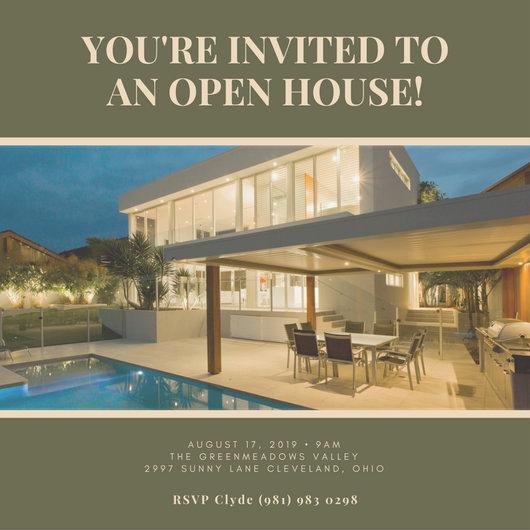 Real Estate Open House Invitation Luxury Invitation Templates Canva