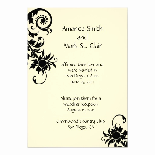 "Reception Invitation Wording Already Married Awesome Black and Ivory Wedding Reception Invitation 5"" X 7"