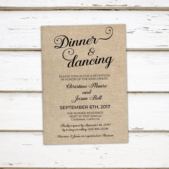 Reception Invitation Wording Already Married Beautiful Printable Wedding Reception Invitation Dinner and Dancing