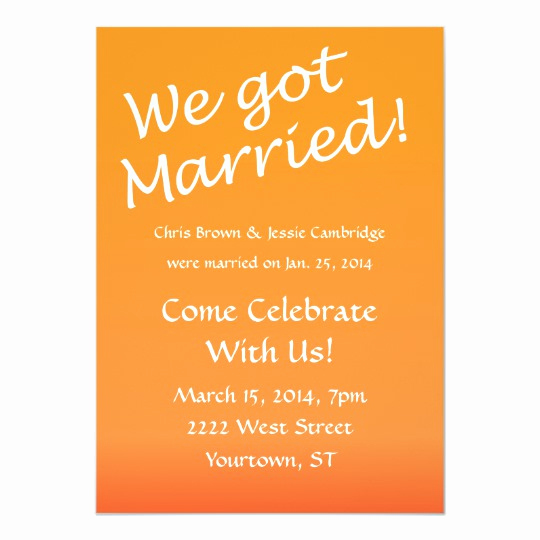 Reception Invitation Wording Already Married Beautiful We Got Married Post Wedding Party Invitation