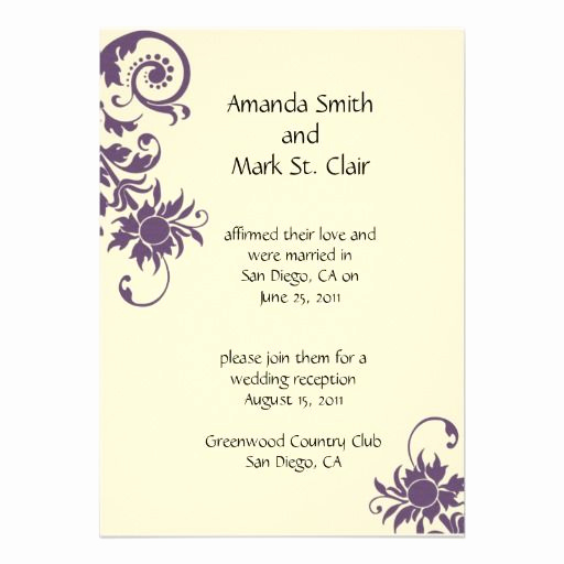 Reception Invitation Wording Already Married Best Of Wedding Invitation for someone Already Married
