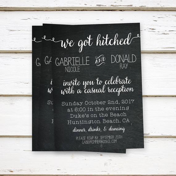 Reception Invitation Wording Already Married Elegant Printed Elopement Reception Invitations Elopement We Eloped