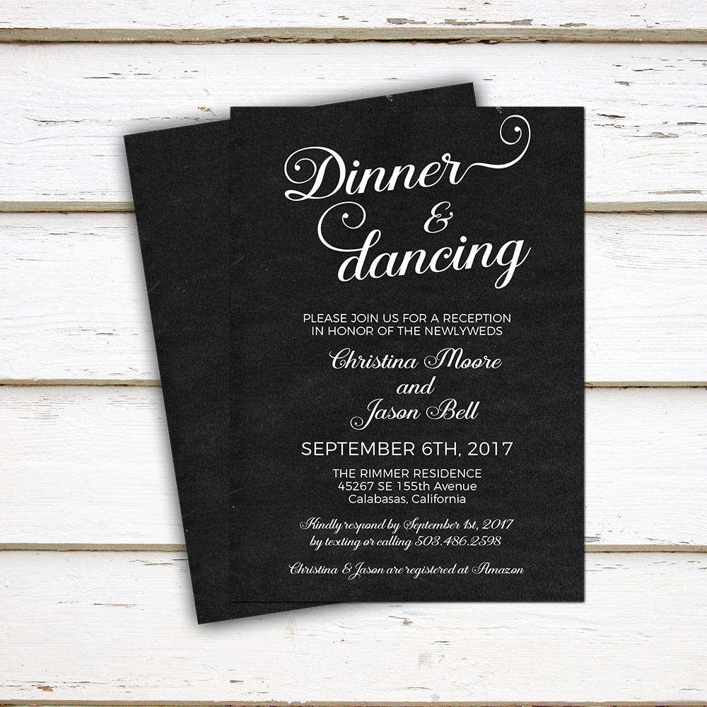 Reception Invitation Wording Already Married New Printable Wedding Reception Invitation Dinner and Dancing