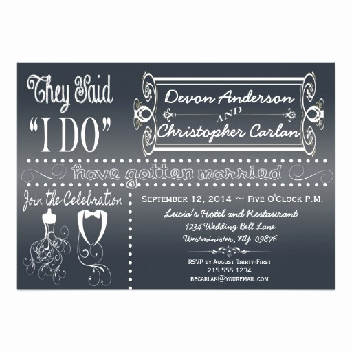 "Reception Only Invitation Wording Awesome Popular Reception Ly Chalkboard Invitation 5"" X 7"