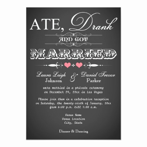 Reception Only Invitation Wording Elegant Chalkboard Style Wedding Reception Ly Invite