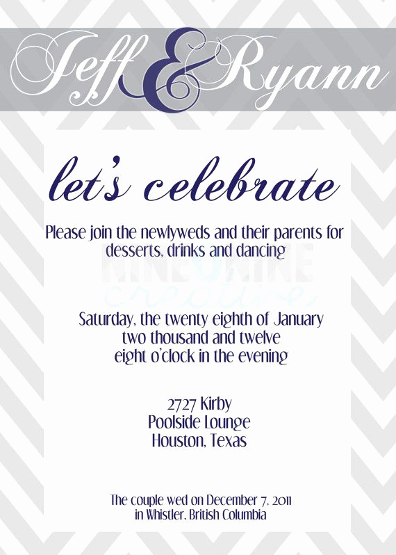 Reception Only Invitation Wording New Wedding Reception Invitation by Nineoninecreative On Etsy