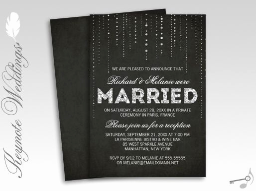 Reception Only Invitation Wording Unique Sparkly Glitter Chalkboard Wedding Reception Ly