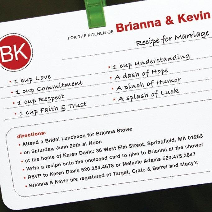 Recipe Bridal Shower Invitation Wording Awesome Recipe for Marriage 15 Bridal Shower Invitations Plus 15