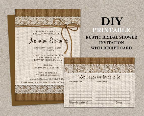 Recipe Bridal Shower Invitation Wording Beautiful Diy Printable Rustic Bridal Shower Invitation with Recipe