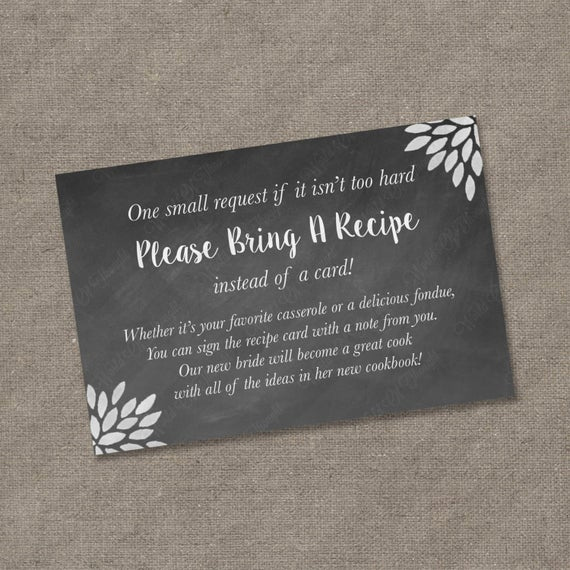 Recipe Bridal Shower Invitation Wording Beautiful Please Bring A Recipe Instead Of A Card Insert for Bridal