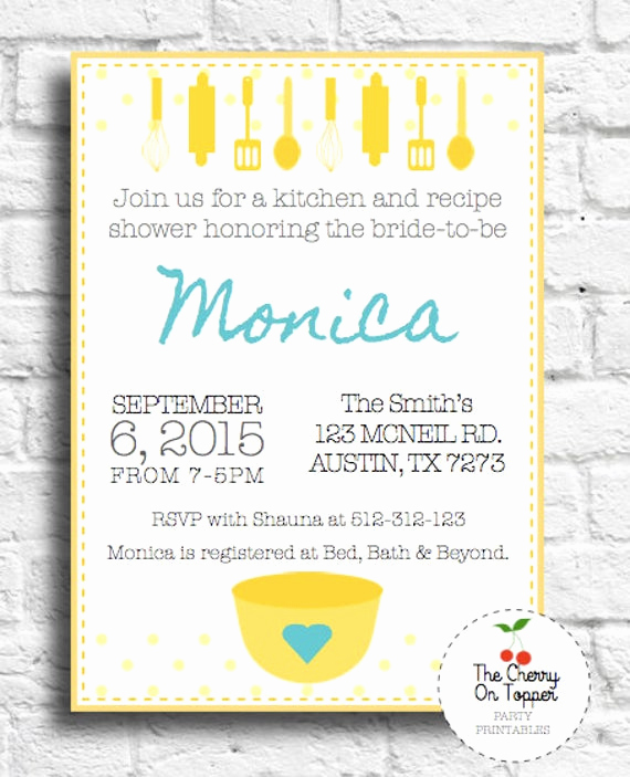 Recipe Bridal Shower Invitation Wording Inspirational Items Similar to Kitchen Invitation Kitchen and Recipe