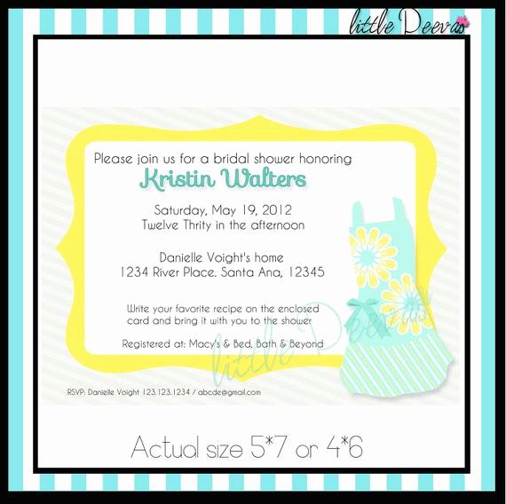 Recipe Bridal Shower Invitation Wording Inspirational Items Similar to Kitchen Recipe Bridal Shower Invitation