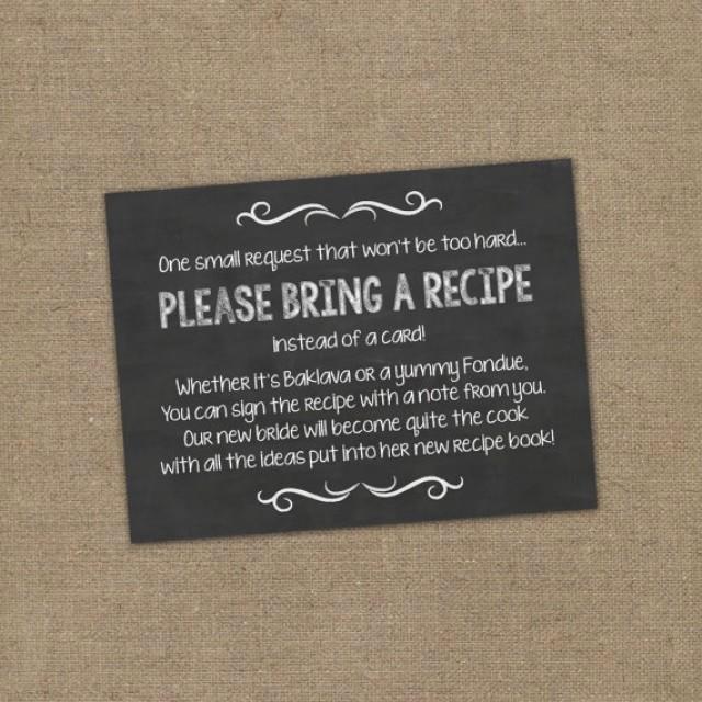 Recipe Bridal Shower Invitation Wording Inspirational Please Bring A Recipe Instead A Card Insert for Bridal