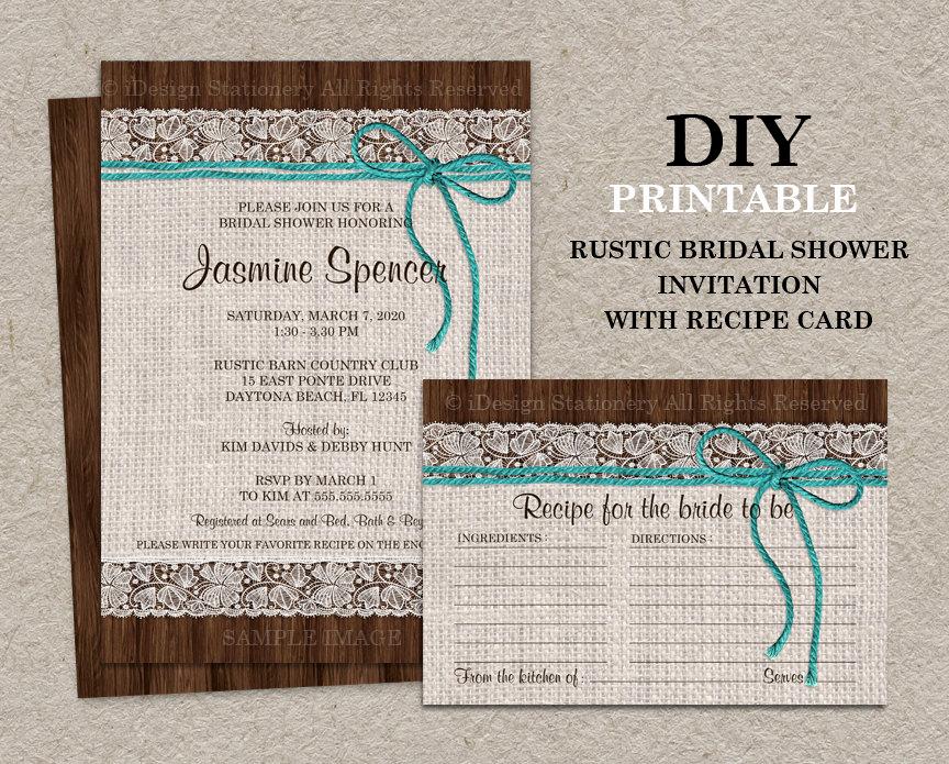 Recipe Bridal Shower Invitation Wording Inspirational Rustic Turquoise Bridal Shower Invitation with Recipe Card