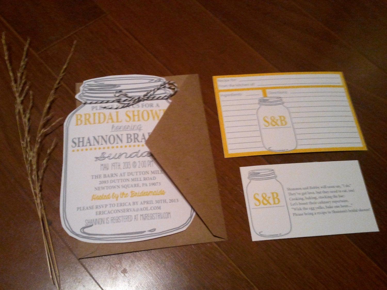 Recipe Bridal Shower Invitation Wording Lovely Mason Jar Bridal Shower Invitations and Recipe by Neillydesign