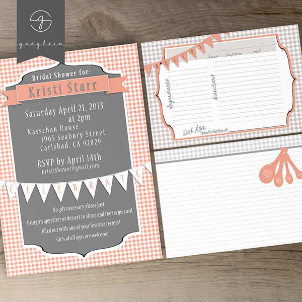 Recipe Bridal Shower Invitation Wording Luxury Bridal Shower Printable Invites and Recipe Cards On Behance