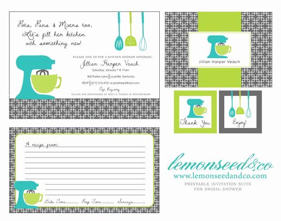 Recipe Bridal Shower Invitation Wording Luxury Printable Kitchen Shower Invitations Bridal by Lemonseedandco