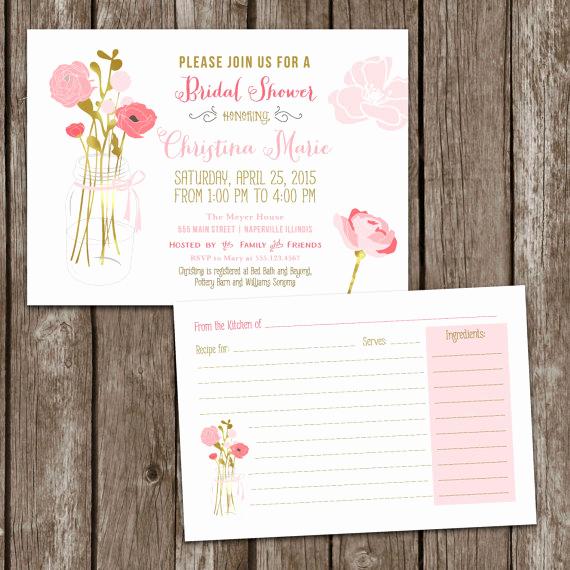 Recipe Bridal Shower Invitation Wording Luxury Sale Digital Printable Mason Jar Bridal Shower