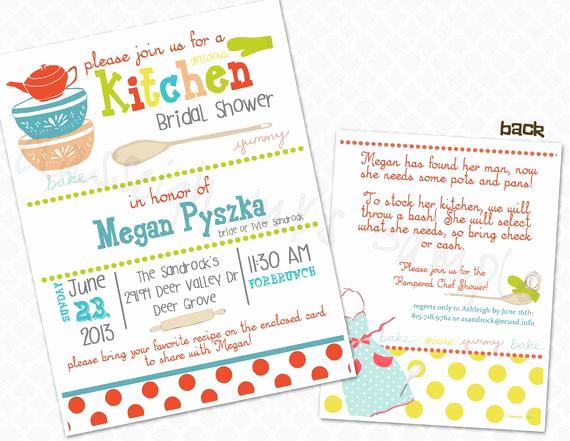 Recipe Bridal Shower Invitation Wording New Pampered Chef Kitchen Recipe Bridal Shower Invitation Bridal