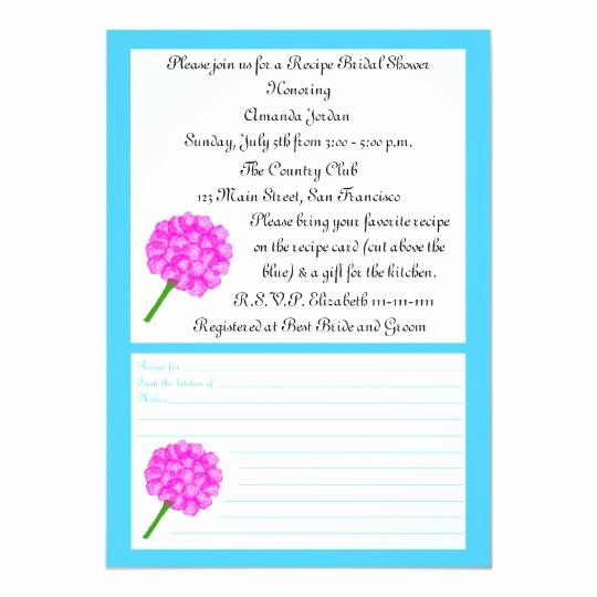 Recipe Bridal Shower Invitation Wording New Recipe Bridal Shower Invitation Blue Recipe Card