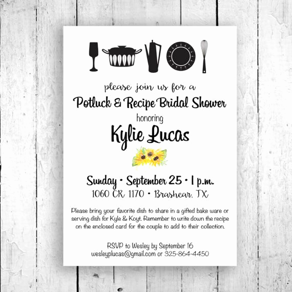 Recipe Bridal Shower Invitation Wording Unique 25 Best Ideas About Potluck Invitation On Pinterest