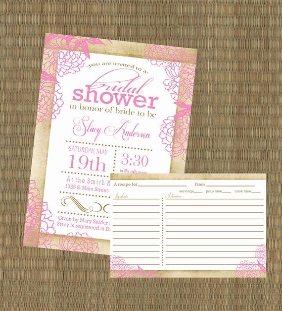 Recipe Shower Invitation Wording Awesome Items Similar to Printable Vintage Bridal Shower
