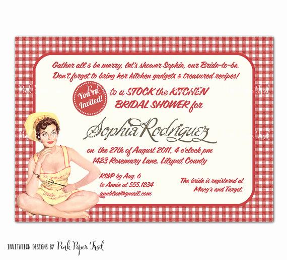 Recipe Shower Invitation Wording Awesome Items Similar to Retro Bridal Shower Invitation Template