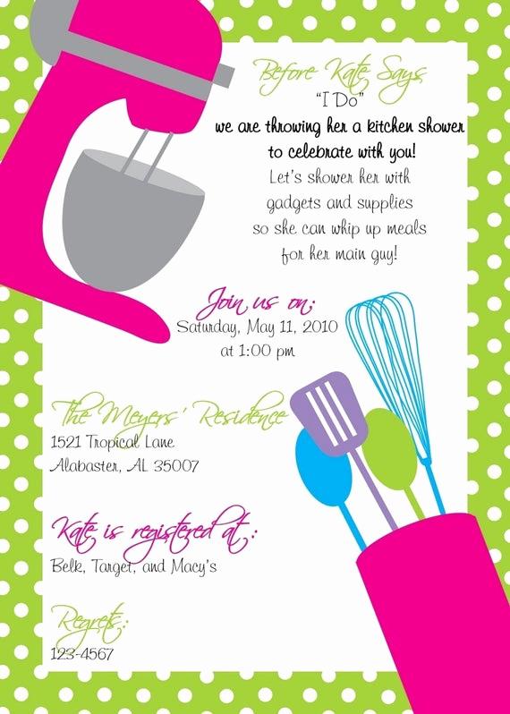 kitchen shower invitation plus recipe