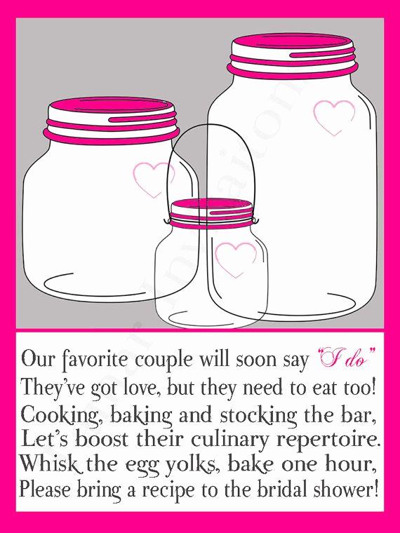 Recipe Shower Invitation Wording Beautiful Poem Recipe Cards and Bridal Shower Invitations On Pinterest