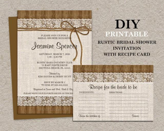 Recipe Shower Invitation Wording Best Of Diy Printable Rustic Bridal Shower Invitation with Recipe