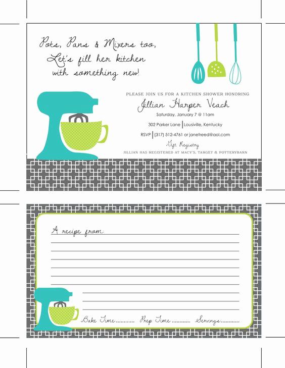 Recipe Shower Invitation Wording Best Of Printable Kitchen Shower Invitations Bridal Shower