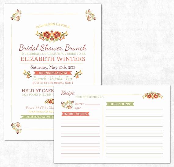 Recipe Shower Invitation Wording Fresh Items Similar to Printable Bridal Shower Invitation and