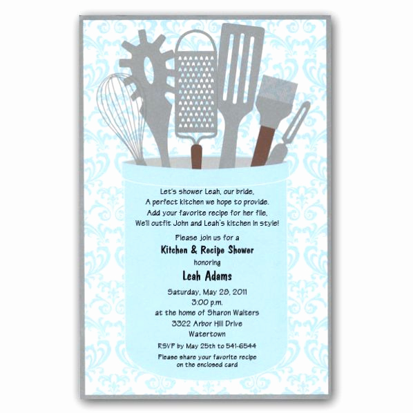 Recipe Shower Invitation Wording Inspirational Kitchen Shower Invite Wording Party Ideas