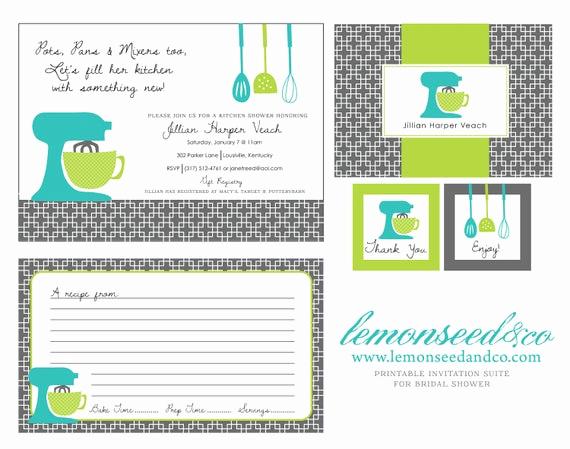 Recipe Shower Invitation Wording Inspirational Printable Kitchen Shower Invitations Bridal by Lemonseedandco